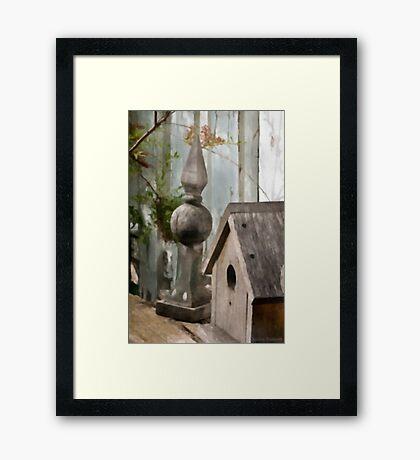 Bird House Garden Art - Digital Watercolor  Framed Print