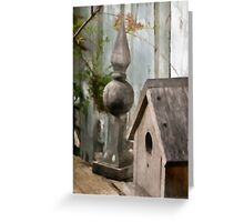 Bird House Garden Art - Digital Watercolor  Greeting Card