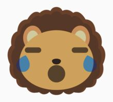 Cute Lion Emoji Teary Eyes and Sad Look One Piece - Short Sleeve