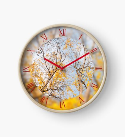 Yellow autumn leafy trees Clock