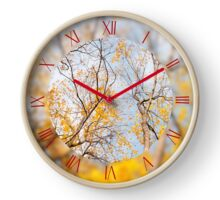 Yellow autumn leafy trees Clock