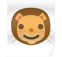 Funny Lion Emoji Happy Smiling Face Poster