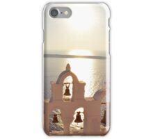 Church bells at sunset in Santorini, Greece iPhone Case/Skin