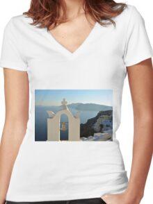 Church bell in Santorini, Greece Women's Fitted V-Neck T-Shirt