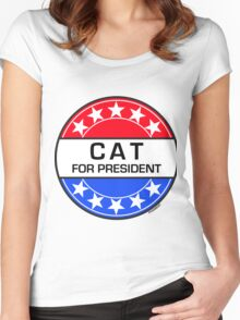 CAT FOR PRESIDENT Women's Fitted Scoop T-Shirt