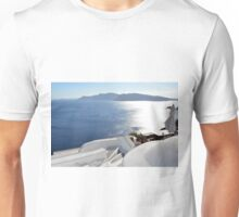 White architecture at sunset in Santorini, Greece Unisex T-Shirt
