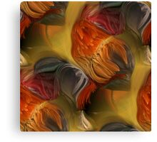 Colorful Rooster Feathers Abstract Canvas Print