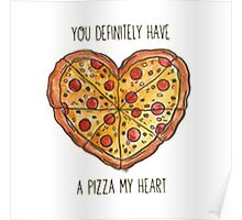 Heart pizza Poster
