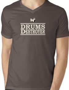Drums Destroyer white color Mens V-Neck T-Shirt