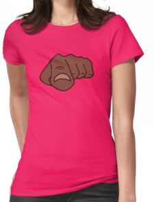 black afro pointing finger i need you Womens Fitted T-Shirt