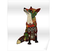 ice floral fox green Poster