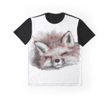 Snoozing fox, resting in the winter snow Graphic T-Shirt