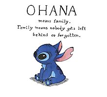 Ohana Means Family Photographic Print