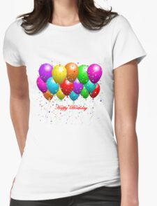 Happy Birthday Balloons Womens Fitted T-Shirt