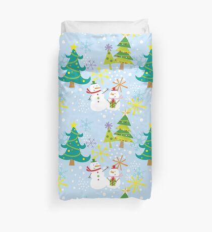 Let it Snow! Snowman celebrating Christmas. Duvet Cover