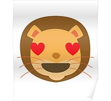 Funny Lion Emoji Heart and Love Eyes Poster