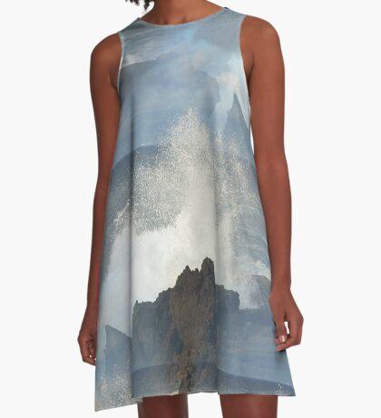 Sea Breaking On Lava Rocks A-Line Dress