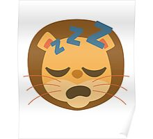 Funny Lion Emoji Sleepy and ZZZ Face Poster