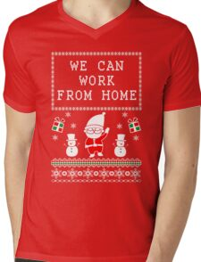 WORK FROM HOME - UGLY CHRISTMAS SWEATER Mens V-Neck T-Shirt
