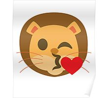 Funny Lion Emoji Flirting and Blowing Kiss Poster
