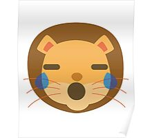 Funny Lion Emoji Teary Eyes and Sad Look Poster