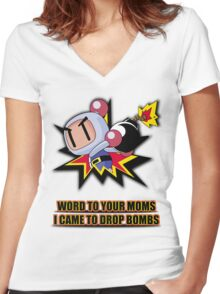 Word to your Moms, Came to drop bombs. Women's Fitted V-Neck T-Shirt