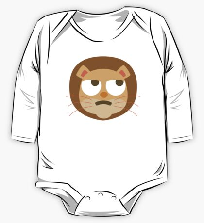 Funny Lion Emoji Thinking Hard and Hmm Look One Piece - Long Sleeve