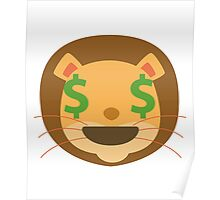 Funny Lion Emoji Money Face Poster