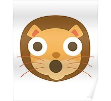 Funny Lion Emoji Shocked and Surprised Face Poster