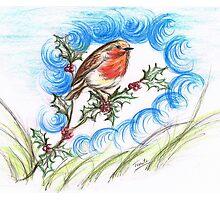 Robin's  Berry Treat Photographic Print