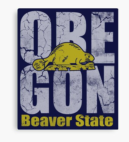 Vintage Oregon Beaver State Canvas Print