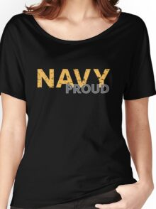 Navy Proud yellow distressed Women's Relaxed Fit T-Shirt