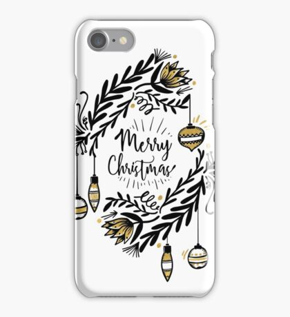 Merry Christmas Gold & Black iPhone Case/Skin