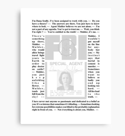 X-Files Quotes - Dana Scully Canvas Print