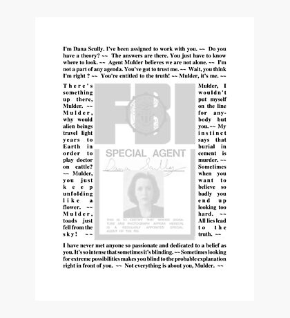 X-Files Quotes - Dana Scully Photographic Print