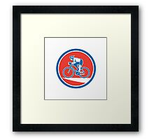 Cyclist Riding Mountain Bike Circle Retro Framed Print