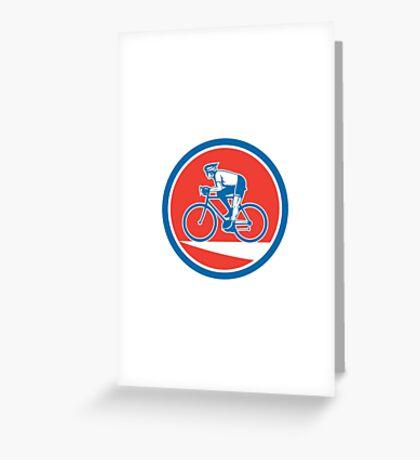 Cyclist Riding Mountain Bike Circle Retro Greeting Card