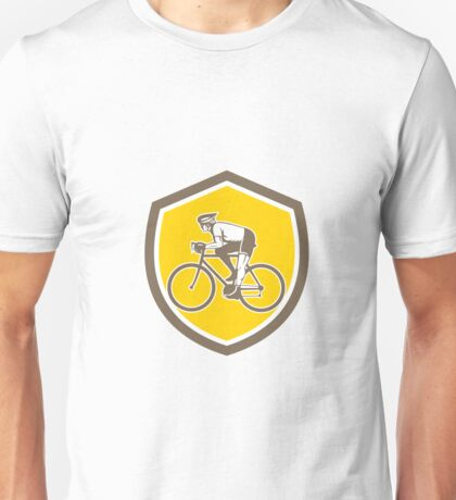 Cyclist Riding Mountain Shield Retro Unisex T-Shirt