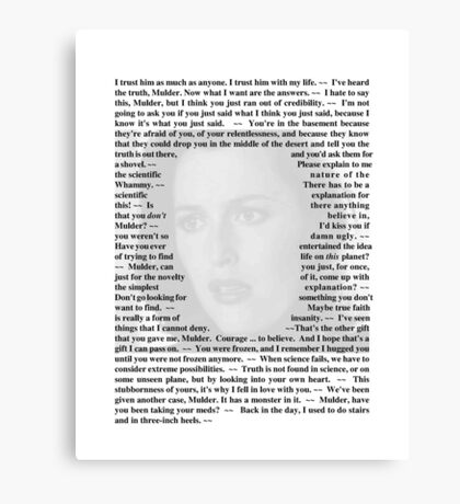 X-Files Quotes - Agent Dana Scully Canvas Print