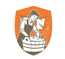 Housewife Washing Laundry Vintage Retro by patrimonio