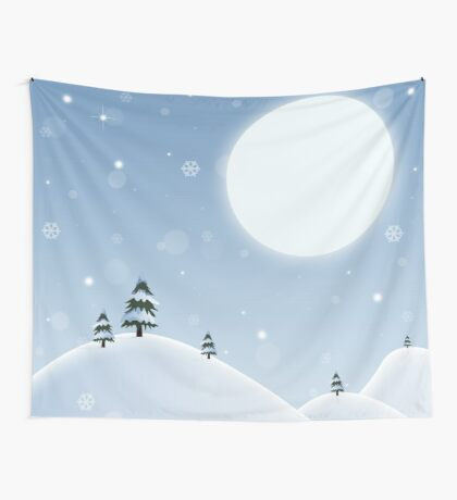 Winter Snow Scene Wall Tapestry
