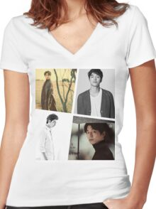 Gong Yoo Women's Fitted V-Neck T-Shirt