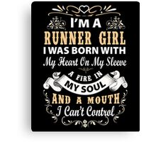 Dirty mind, Caring friend. Good Heart. Filthy Mouth. Kind Soul. Sweet. Sinner. Humble. I Never Said I Was Perfect. I am a Runner Girl T-Shirt Canvas Print