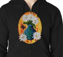 Mixed Media Daisies [Patch] Zipped Hoodie