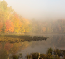 Early morning mist in fall - Mont Tremblant, QC Sticker