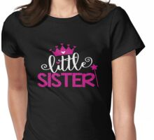 Faux Glitter Little Sister Family Fam Daughter Princess Queen Crown Stars Girly Womens Fitted T-Shirt