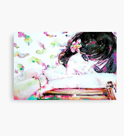 GIRL with FLOWER in her HAIR Canvas Print