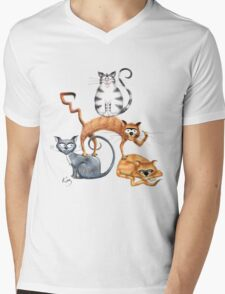 Kazart Cat Stack Tshirt Mens V-Neck T-Shirt
