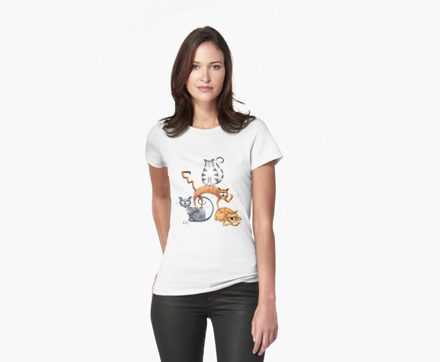 Kazart Cat Stack Tshirt by Karen Sagovac