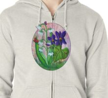 Violet and Lily of the Valley [Patch] Zipped Hoodie